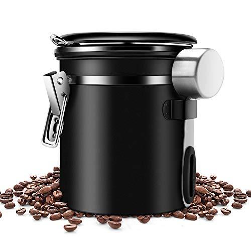 ZB ZealBoom Kaffeedose Luftdicht mit Messlöffel, Kaffeedose Edelstahl Kaffeebohnenbehälter Vorratsdose Aromadose Vakuum Dose für Kaffeebohnen, Kaffeepulver, Tee, Nüsse, Kakao und Mehr, 1,5L Schwarz
