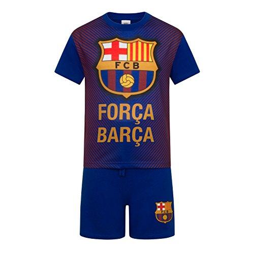 FC Barcelona - Kinder Schlafanzug-Shorty - Offizielles Merchandise - Geschenk für Fußballfans - Blau - 4-5Jahre