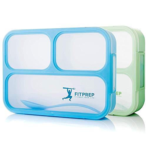 FITPREP® Lunchbox Bento Brotdose Set -tolles 2er Set- 3 Fächer Auslaufsicher - Jede Kammer untereinander BPA frei Kinder & Erwachsene - inkl. Rezeptheft