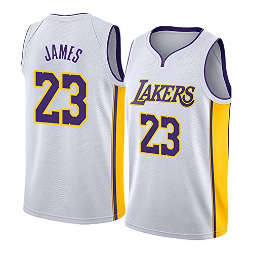#23 James Lakers Basketball Trikot für Damen Erwachsene Tank Tops Basketball Trikots T-Shirt Weste Sportbekleidung Stickerei Jersey (S-2XL) Gr. L, weiß