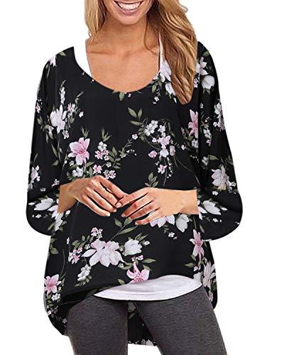 ZANZEA Damen Rundhals Langarmshirts Blumen Asymmetrisch T-Shirt Oversize Oberteil Lose Tops 001-schwarz Blumen EU 50/Etikettgröße 3XL