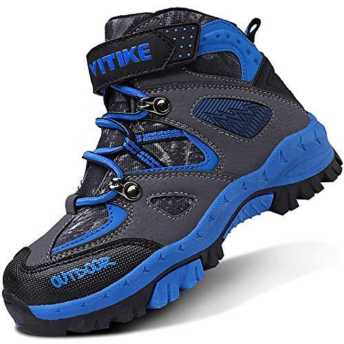 ASHION Kinder Winterschuhe Wanderschuhe Mid Schneestiefel Mädchen Trekkingl Stiefel Jungen Baumwollschuhe Warm Wanderstiefel(B Blau,36 EU)