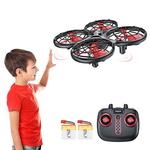Tomzon D15 Handbetriebene Mini Drohne mit 2 Akkus, Infrarot-Induktion UFO, Kollisionssicherer RC-Quadrocopter, Höhe Halten, 360° Flip, Eine Taste Abheben / Landen Spielzeug Helikopter für Kinder