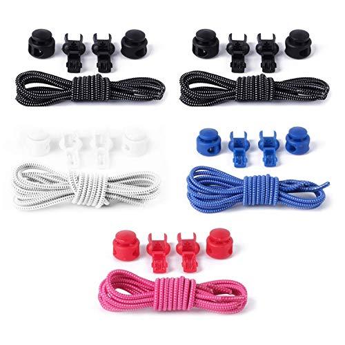 O³ Schnürsenkel Schnellschnürsystem // 5 Paar // Shoe Laces für Kinder und Erwachsene – anpassbare Länge // Elastische Schuhbänder mit Schnellverschluss (5 Stück - Schwarz/Weiß/Blau/Pink)