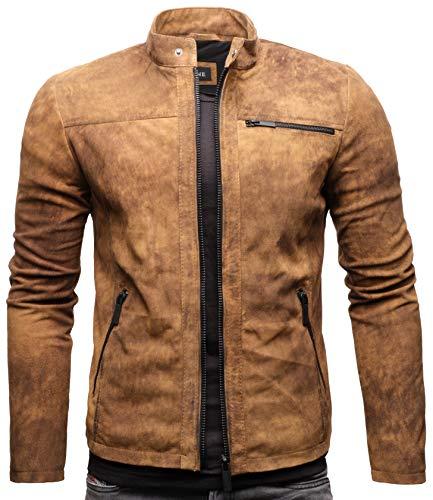Crone Epic Herren Lederjacke Cleane Leichte Basic Jacke aus weichem Wildleder (XXL, Vintage Braun (Wildleder))