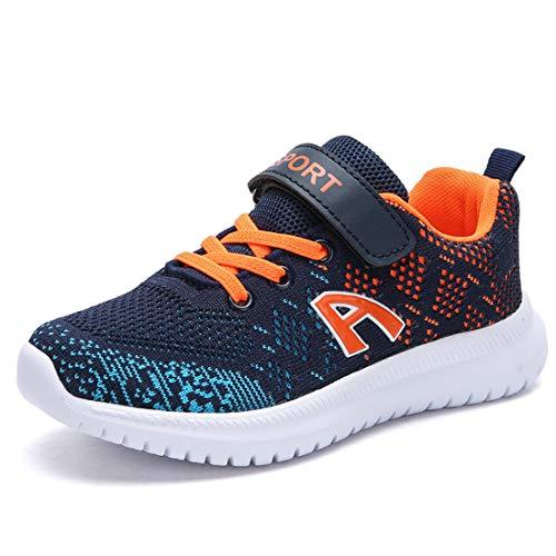 Unpowlink Kinder Schuhe Sportschuhe Ultraleicht Atmungsaktiv Turnschuhe Klettverschluss Low-Top Sneakers Laufen Schuhe Laufschuhe für Mädchen Jungen 28-37, Dunkelblau Orange-a, 28 EU