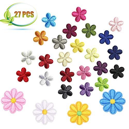 AMZANDY New 27 Pcs Sun Flower Patches zum Aufbügeln,Vintage Gestickten Aufnäher Blumen, Bügelbilder Blumen Set für Jeans Hosen Jacken T-Shirt Taschen(3,1 x 3cm, bis 4,3 x 4,2cm)