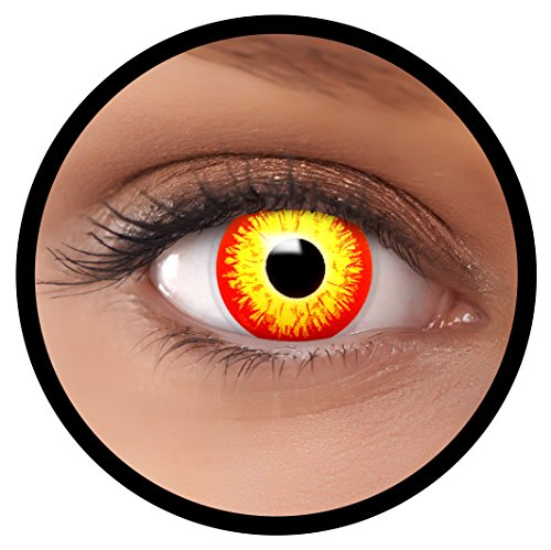 Farbige Kontaktlinsen rot gelb ES + Behälter, weich, ohne Stärke in als 2er Pack (1 Paar)- angenehm zu tragen und perfekt für Halloween, Karneval, Fasching oder Fastnacht Kostüm