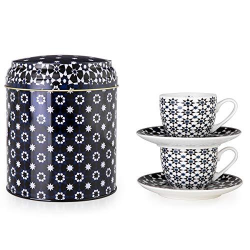 IMAGES D'ORIENT Kaokab Espresso-Set schwarz-weiß-blau, 2 Espresso-Tassen mit Untersetzer, 90 ml, Porzellan, orientalisches Design mit geometrischen Mustern, inkl. Geschenk-Box aus Blech