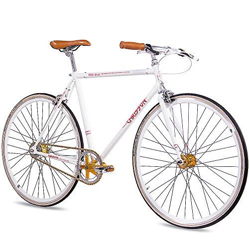 CHRISSON 28 Zoll Herren Vintage Rennrad - FGS CrMo Gent Weiss 59 cm - Old School Herrenfahrrad mit 2 Gang Kick Shift Schaltung von Sturmey Archer, Retro Cityfahrrad für Männer mit Rücktrittschaltung