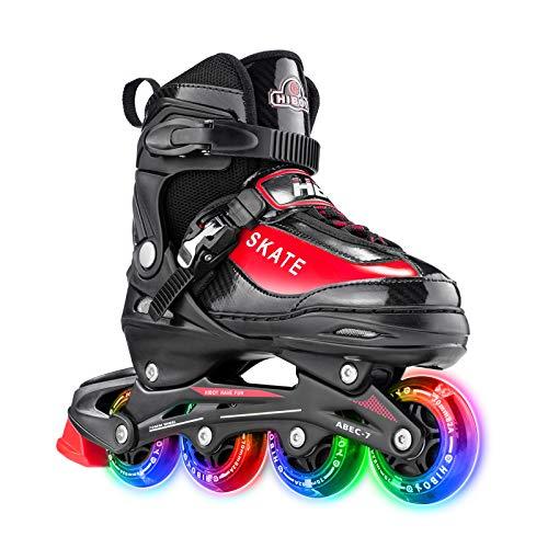 Hiboy verstellbare Inline-Skates mit Allen beleuchteten Rädern, beleuchteten Outdoor- und Indoor-Rollschuhen für Jungen, Mädchen, Anfänger,Rot,Large 38-41