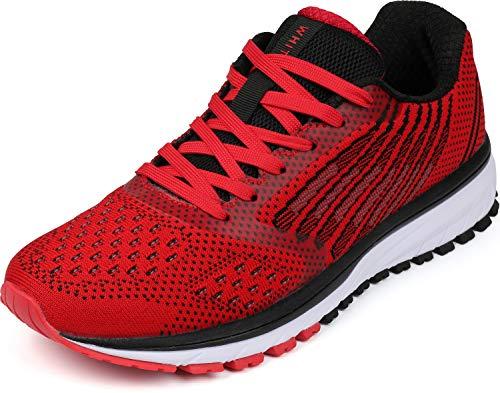 WHITIN Herren Turnschuhe Sportschuhe Atmungsaktiv Laufschuhe Outdoor Joggingschuhe Für Männer Sneakers Fitnessschuhe Leichte Bequeme Freizeit Schuhe Rot Größe 46