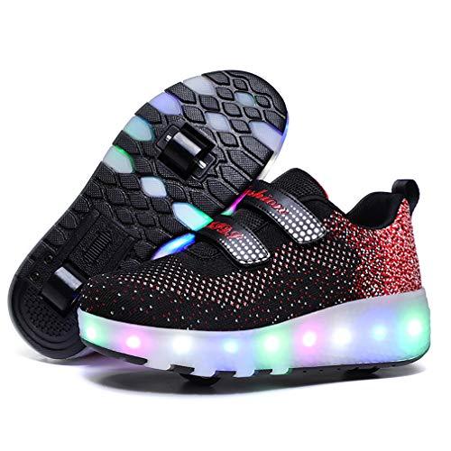 Aupast Unisex Kinder mit Rollen Skateboardschuhe LED Leuchtend Schuhe Doppelrad schuheltraleicht Outdoor-Sportarten Gymnastik Mode Rollerblades Sneaker