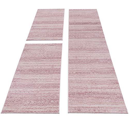 SIMPEX Bettumrandung Läufer Teppich Kurzflor Einfarbig Läuferset 3 teilig Schlafzimmer Flur Meliert Pink, Bettset:2x80x150+1X80x300
