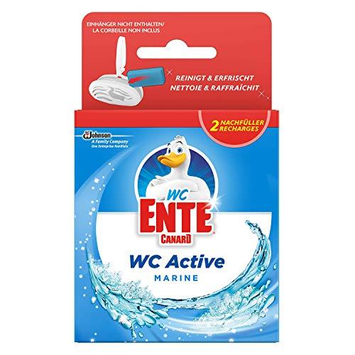 WC Ente Active 3in1 Nachfüller WC-Stein für Frische und Sauberkeit bis zu 3 Wochen, Marine Duft, 1er Pack (2 x 40 g)