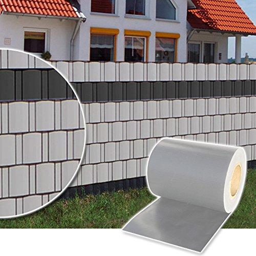 Plantiflex Sichtschutz Rolle 35m Blickdicht PVC Zaunfolie Windschutz für Doppelstabmatten Zaun (Grau)