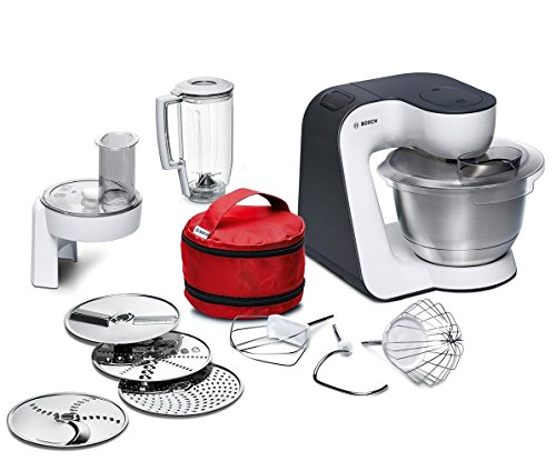 Bosch MUM52120 Küchenmaschine Styline (700 Watt, Edelstahl-Rührschüssel,Durchlaufschnitzler) weiß/grau