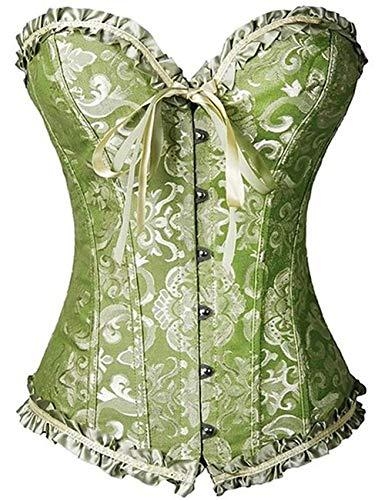 FeelinGirl Frauen Bridal Wäsche schnürt Sich Oben Satin ohne Knochen Korsett mit G-Schnur L Grün