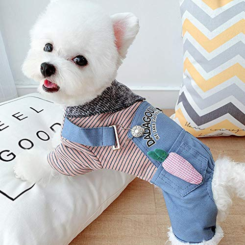 QKEMM Geeignet für Outdoor-Bekleidung mittlerer und Großer Hunde Dickes Hemd aus Baumwolle und Samt mit Vier Beinen Hundejacke Winter Jacken blau M