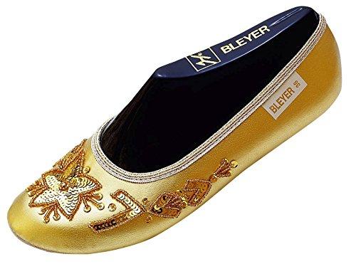 Bleyer Pailettenbestickte Bauchtanzschuhe, Gymnastikschuhe orientalischer Tanz-Schuhe, Gold (36)