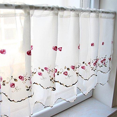 ZHH Floral Fenster Volant Zweischichtige handgefertigt, Cafe, bestickt, Pink Rose Muster auf Weiß, Polyester, weiß, H 15 inch * W 90 inch