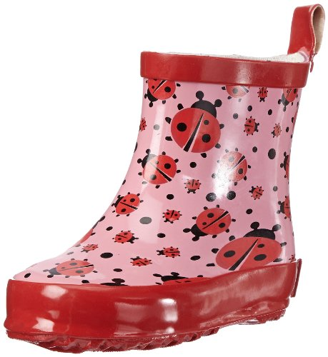 Playshoes Kinder Halbschaft-Gummistiefel aus Naturkautschuk, trendige Unisex Regenstiefel mit Reflektoren, mit Käfer-Muster, Pink (original 900), 22