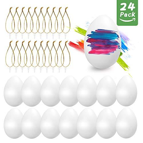 O-Kinee 24pcs Ostereier Plastik weiß, Eier Kunststoff 6 cm Dekoeier Kunststoffeier Plastikeier zum Basteln Deko Ostern, Ostereier mit Aufhänger für Kunsthandwerk malen hängend