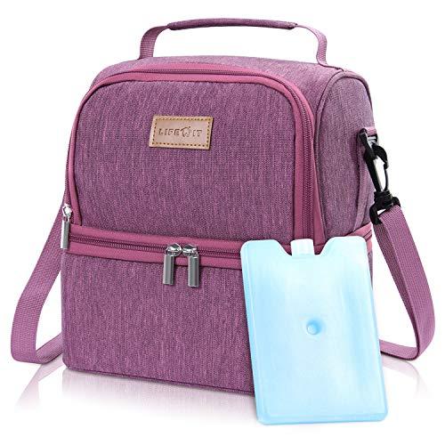 Lifewit Lunchtasche Mittagessen Tasche Thermotasche Kühltasche Isoliertasche Picknicktasche für Lebensmitteltransport 7L (Rosa)