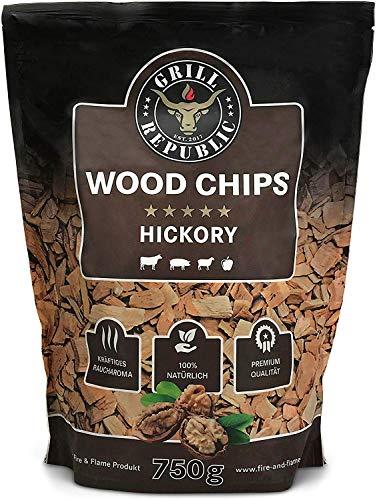 Premium Hickory Räucherchips für optimales Raucharoma beim Grillen   100% Natürliches Smoker-Holz geeignet für Kugel-, Stand- und Gas-Grill   Extra große 750 Räucherchips Testsieger