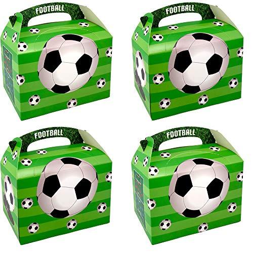 German Trendseller® - 8 x Fußball Boxen ┃ Party Boxen mit Griff zum Befüllen ┃ Fußball ┃ Ideal als Mitgebsel für Ihre kleinen Gäste