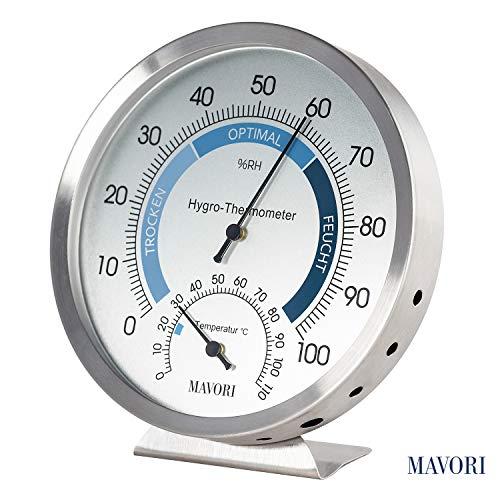 MAVORI® Thermometer Hygrometer innen analog - Feuchtigkeitsmessgerät aus hochwertigem Edelstahl für eine zuverlässige und komfortable Raumklima Kontrolle