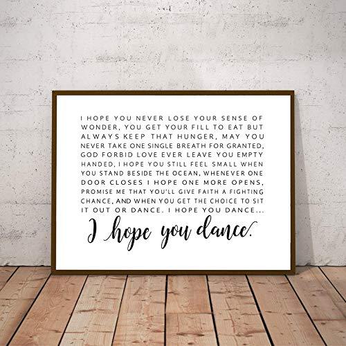 FA LEMON Ich hoffe, Sie tanzen Lyrics Poster Leinwand Malerei Wandbild Kunstdrucke Kinderzimmer Dekor-50x70cmx1 Stück kein Rahmen