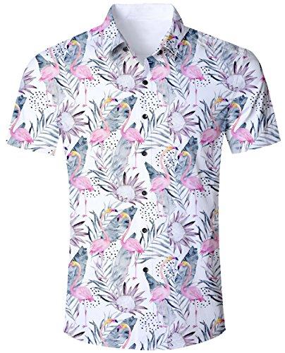 Goodstoworld Herrenhemd Flamingo Kurzarm Comfort Fit Outdoor Hemd Herren Modern Hawaiihemd Männer Retro Gemusterte Shirt