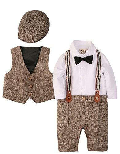 Zoerea 3tlg Baby Jungen Bekleidungssets Strampler + Weste + Hut Fliege Krawatte Anzug Gentleman Festliche Taufe Hochzeit Langarm Baby Kleikind- Gr. Etikette 70 (ca.3-6 monate), Braun 013