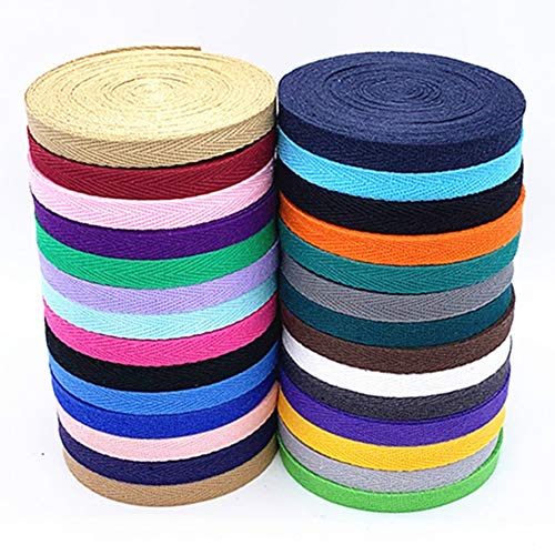 Egurs Baumwoll Gurtband 56m/28 Farben 10mm Nahtband Köperband Schrägband,28 Farben,Jede Farbe ist 2 Meter