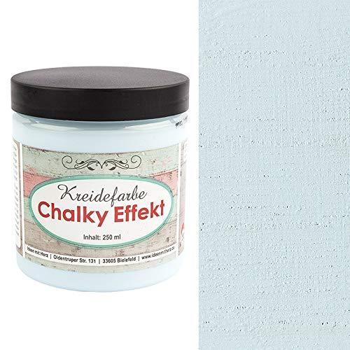 Ideen mit Herz Chalky Effekt Kreidefarbe, 250ml   hochdeckend   ultramatt   auf Wasser-Basis   Kreide-Farbe für Shabby-Chic & Vintage-Effekt (himmelblau)