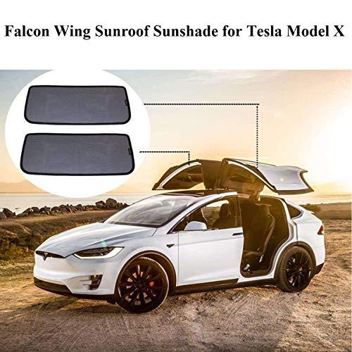 topfit Model X Sonnenschutz Autofenster Schirm Sonnenschutz Falcon Wing Schiebedach Sonnenschutz Klappseitenfenster Sonnenschutz Oberlicht Blind Shading Net für Tesla Model X