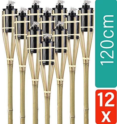 Praknu 12 Gartenfackeln aus Bambus Holz mit Docht - Lange Brenndauer - Nachfüllbar - 120 cm