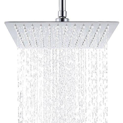 Hiendure®8 x 8 Zoll Quadratische Luxus Regendusche Einbauduschköpfe Edelstahl Duschkopf aus Edelstahl Spiegeleffekt Hochglänzend