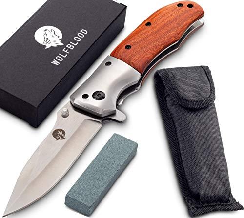 Wolfblood Klappmesser - extra scharfes Taschenmesser mit Schleifstein und Gürteltasche - Outdoor Messer aus speziell gehärteter Edelstahlklinge und Edelholzgriff