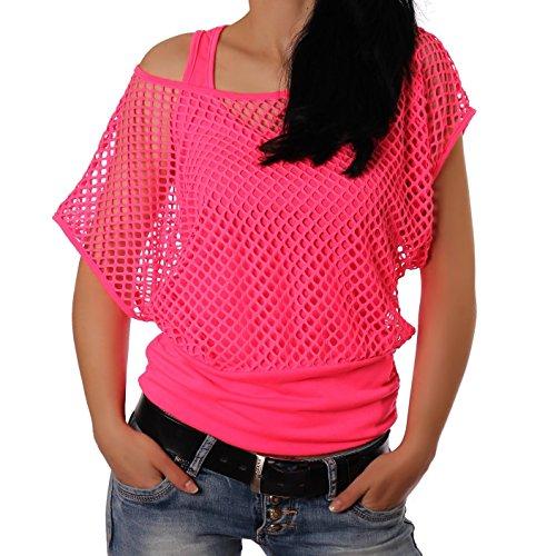 Crazy Age Frauen Partytop Sommertop Fasching Fest Netzoberteil aktueller Trend in Neonfarben- Einheitsgröße, Neonpink