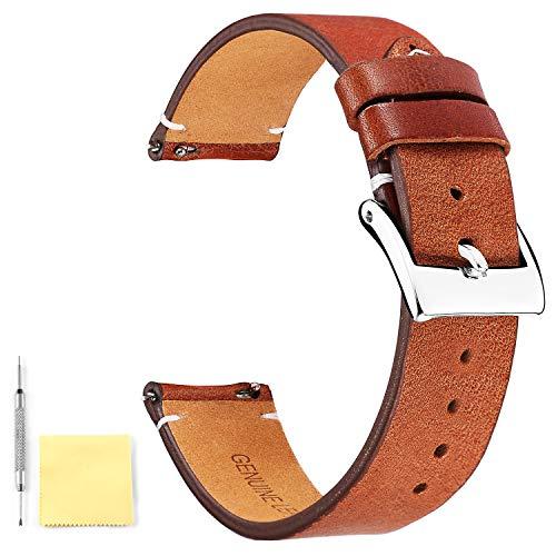 BINLUN Echtes Leder Uhrenarmbänder Schnellverschluss Lederarmbänder mit rostfreiem Metallverschluss für Männer Frauen 12mm 14mm 16mm 18mm 20mm 22mm 24mm