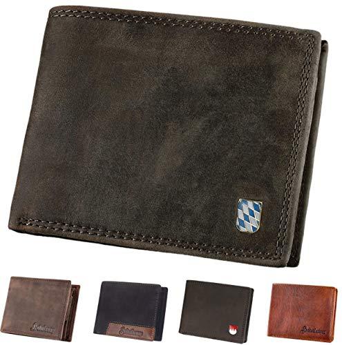 Hodalump Echt-Leder Geldbörse • Geldbeutel für Damen und Herren mit RFID-Schutz • Portmonee inkl. Geschenkverpackung • Bavaria Hodalump Prägung