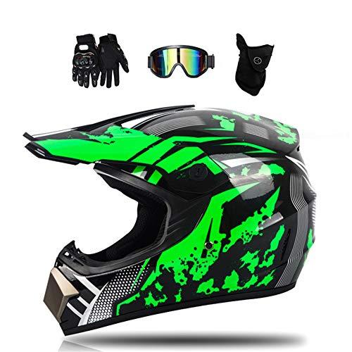 MRDEAR Motorrad Crosshelm Schwarz Grün Motocross Helm Set mit Brille (4 Stück), Fullface MTB Helm Kinder Cross Helm Motorradhelm Fahrrad Enduro Downhill BMX Off Road ATV,M