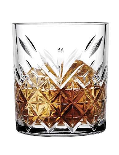 Pasabahce 52790 Whisky Glas Tumbler Timeless im Kristall-Design, Höhe 9,6 cm, 345 ml, 6 Stück, Retro-Design