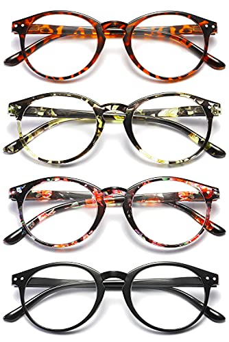VEVESMUNDO® Lesebrillen Damen Herren Federscharnier Lesehilfe Augenoptik Vintage Retro Qualität Vollrandbrille 1.0 1.25 1.5 1.75 2.0 2.25 2.5 3.0 3.5 (4 Stück (Schwarz+Leopard+Rosa+Gelb), 3.5)