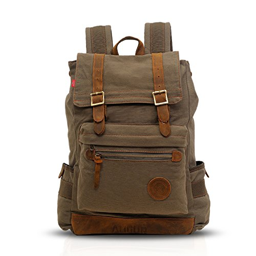 FANDARE Klassisch Rucksack 15.6 Zoll Laptop Studenten Reisen Klettern Backpack Damen/Herren Verschleißfest Leinwand Grün