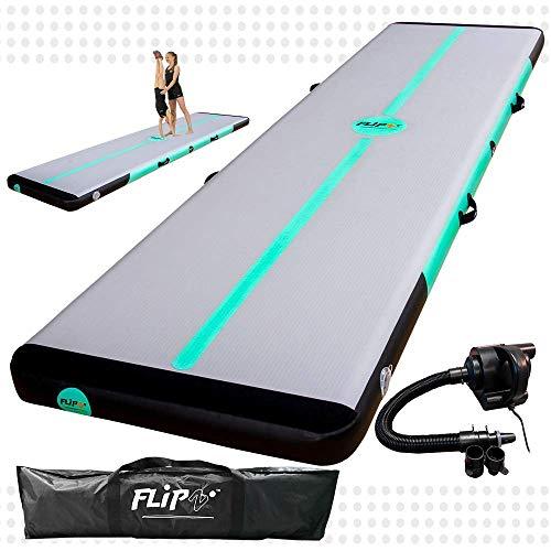 FlipZ Airtrack für Tumbling | Schadstofffrei Aufblasbare Turnmatte mit Pumpe für Gymnastik, Yoga, Training und Parkour zu Hause | 6 Meter Mint 15 cm hoch