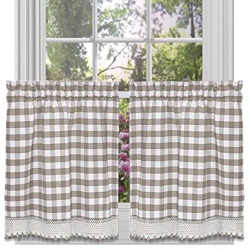 Buffalo Check Plaid GINGHAM Custom passend für Fenster Vorhang Behandlungen von goodgram, verschiedene Farben, Designs und Größen, Polyester-Mischgewebe, taupe, 36 in. Tier Pair