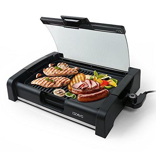 OZAVO Elektrogrill, Tischgrill mit Glasdeckel, Elektrische Multipfanne, BBQ Barbecue, elektrisch Grillfläsche, Grillpatte 1650Watt, verstellbarer Thermostat